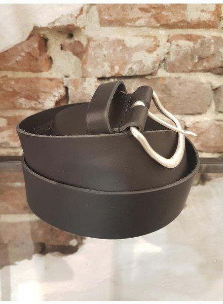 black leather ceintuur 3,5 cm mat zilver