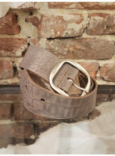 taupe print leather ceintuur 3,8 cm mat zilver