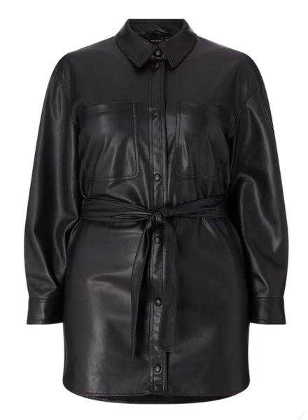 Vero Moda Curve shacket faux leather
