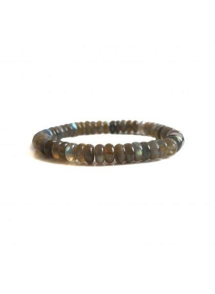 Klein Geluk armband grijs labradoriet rondel 8 mm
