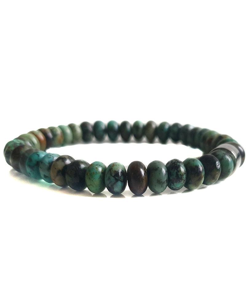 Klein Geluk armband groen turkoois rondel 8 mm