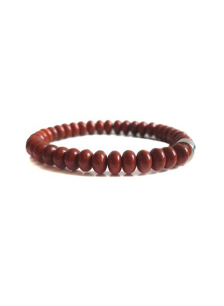 Klein Geluk armband rode jaspis rondel 8 mm