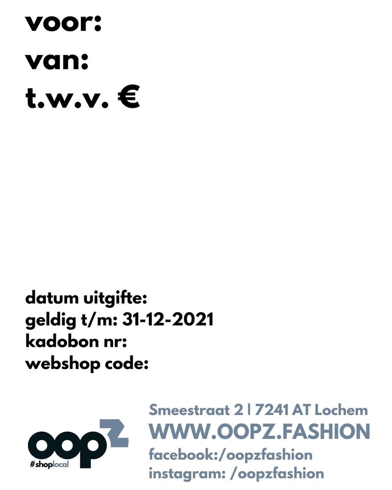 Oopz locdown kadobon 20 euro