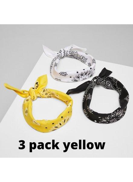 Urban Classics 3-pack bandana's yellow/black/white
