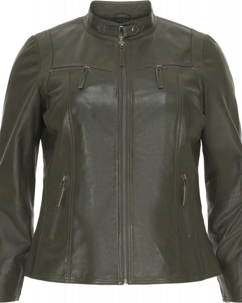 Leather biker olive green