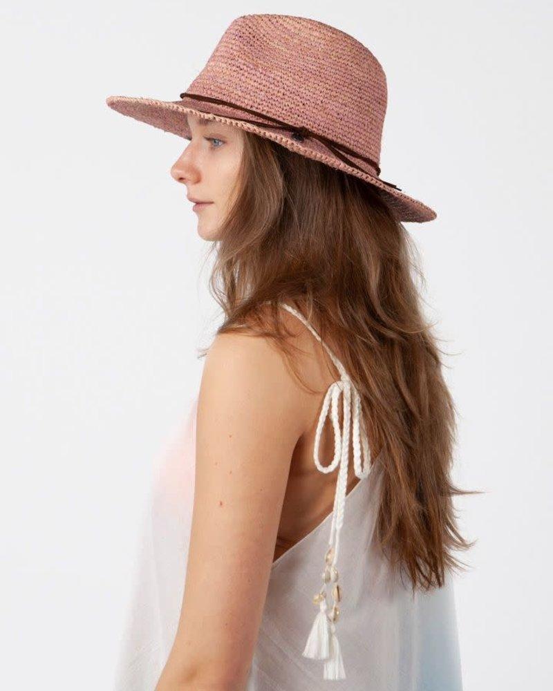 Barts Raffia fedora hat dusty pink
