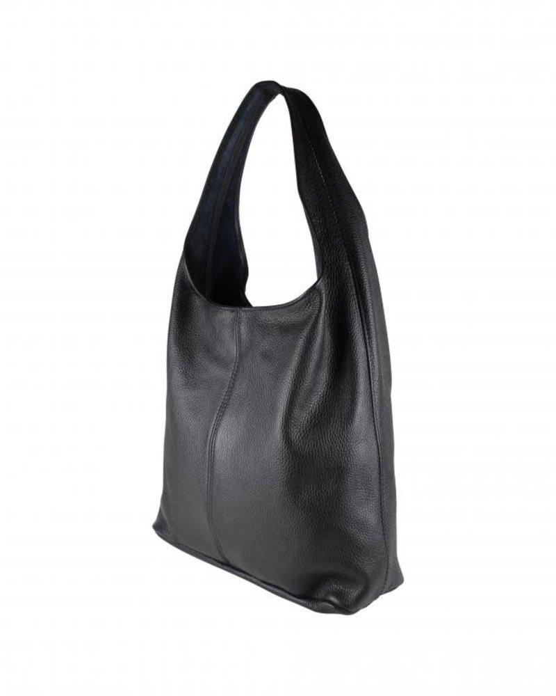 baggy bag leer zwart
