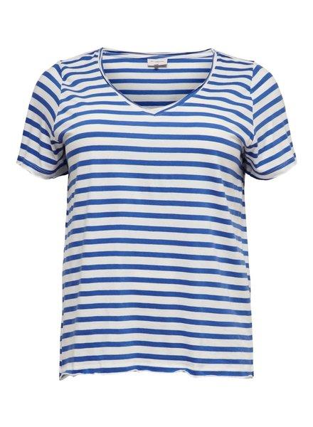 Only Carmakoma v-hals tshirt stripes blue