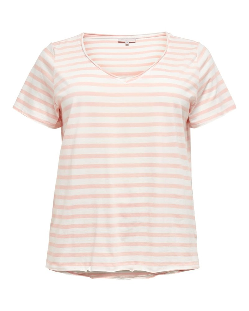 Only Carmakoma v-hals tshirt stripes peach melba