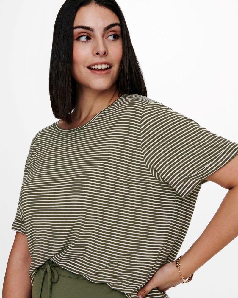 Only Carmakoma streep shirt Nanna kalamata green