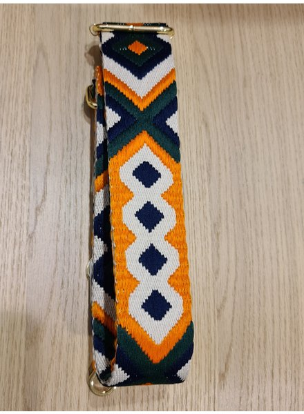 woven strap navy/orange/green  (goud)