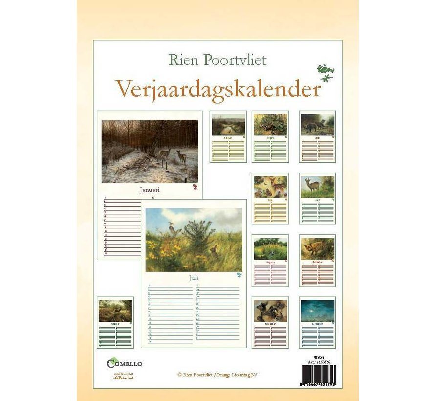 Rien Poortvliet A4 natuur verjaardagskalender