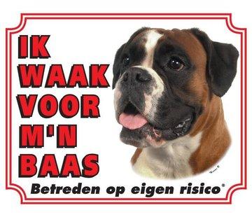 Stickerkoning Boxer Waakbord - Ik waak voor mijn baas