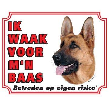 Stickerkoning Duitse Herder Waakbord - Ik waak voor mijn baas