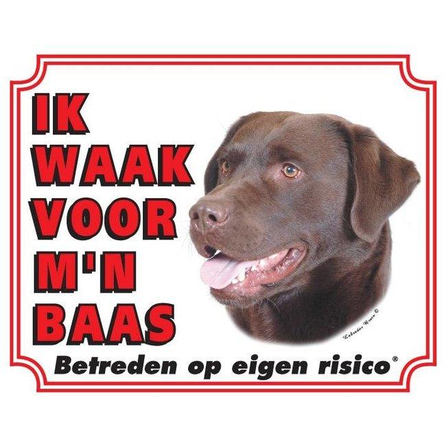 Stickerkoning Labrador Retriever Waakbord - Bruin