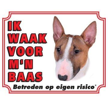 Stickerkoning Bull Terrier Waakbord - Ik waak voor mijn baas