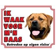 Stickerkoning Boerboel Waakbord - Ik waak voor mijn baas