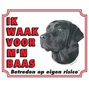 Stickerkoning Labrador Retriever Waakbord - Zwart