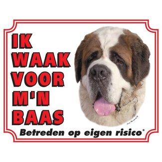 Stickerkoning Sint Bernard Waakbord - Ik waak voor mijn baas