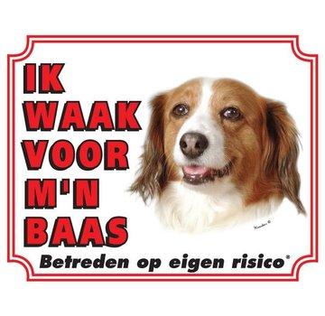 Stickerkoning Kooikerhondje Waakbord - Ik waak voor mijn baas