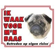 Stickerkoning Pug Wake board - I watch my boss