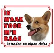 Stickerkoning Welsh Corgi Waakbord - Ik waak voor mijn baas