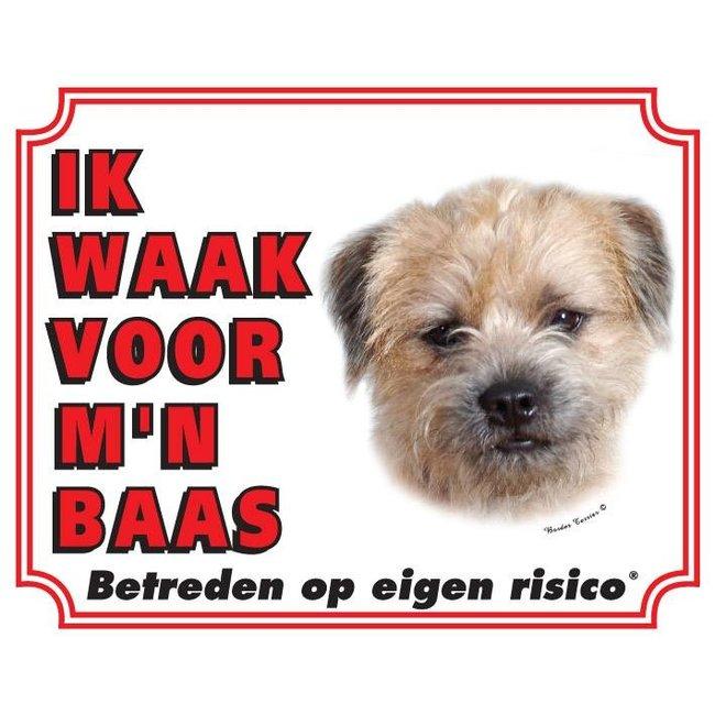 Border Terrier Waakbord - Ik waak voor mijn baas