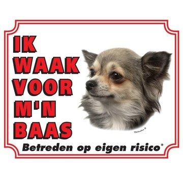 Stickerkoning Chihuahua Waakbord - Langhaar Ik waak voor mijn