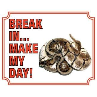 Stickerkoning Konings Python Waakbord - Break in make my Day