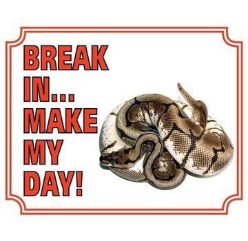 Stickerkoning Konings Python Waakbord - Break in make my Day
