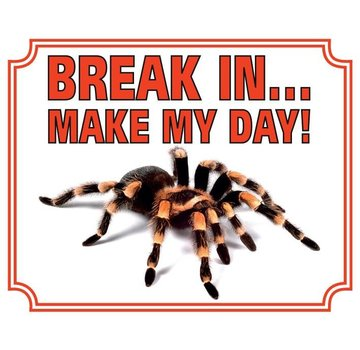 Stickerkoning Tarantula Waakbord - Break in make my Day