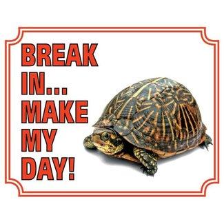 Stickerkoning Schildpad Waakbord - Break in make my day