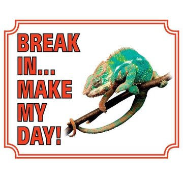 Stickerkoning Kameleon Waakbord - Break in make my day