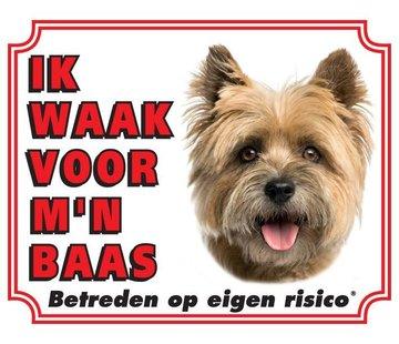 Stickerkoning Cairn Terrier Waakbord - Ik waak voor mijn baas Blond