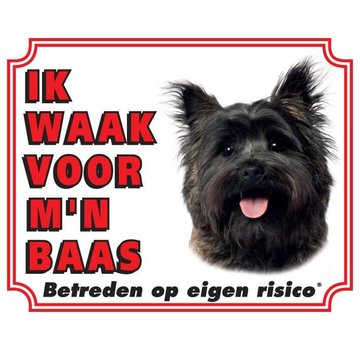 Stickerkoning Cairn Terrier Wake board - I watch my boss Brown