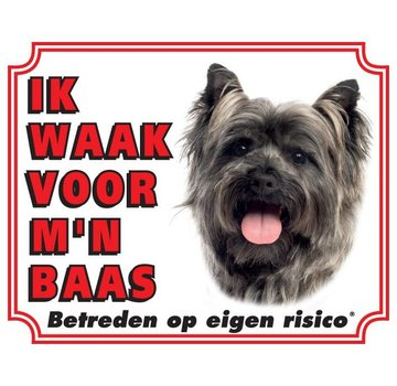 Stickerkoning Cairn Terrier Wake board - I watch my boss Gray