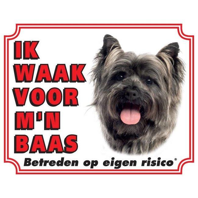 Cairn Terrier Waakbord - Ik waak voor mijn baas Grijs