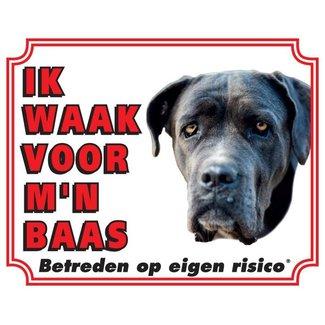 Stickerkoning Cane Corso Waakbord - Ik waak voor mijn baas