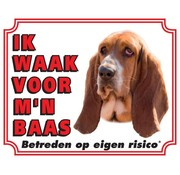 Stickerkoning Basset Hound Waakbord - Ik waak voor mijn baas