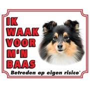 Stickerkoning Shetland Sheepdog Waakbord - Ik waak voor Zwart