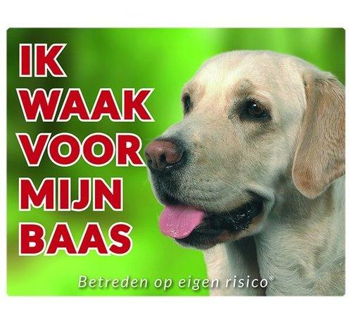 Stickerkoning Labrador Retriever Waakbord - Ik waak voor blond