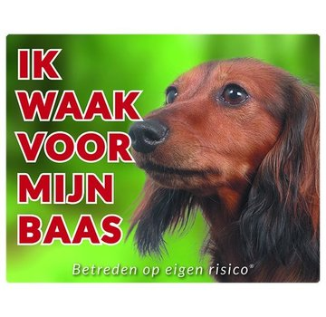 Stickerkoning Dachshund Watch Board - I watch my boss Long Hair