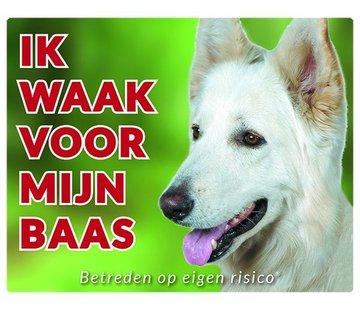 Stickerkoning Witte Herder Waakbord - Ik waak voor mijn baas