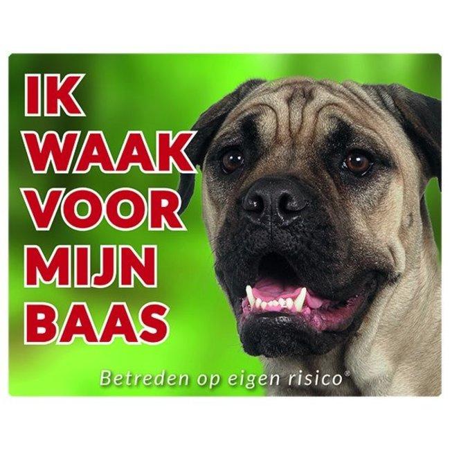 Stickerkoning Bullmastiff Waakbord - Ik waak voor mijn baas