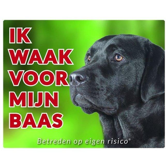 Stickerkoning Labrador Retriever Waakbord - Ik waak voor Zwart