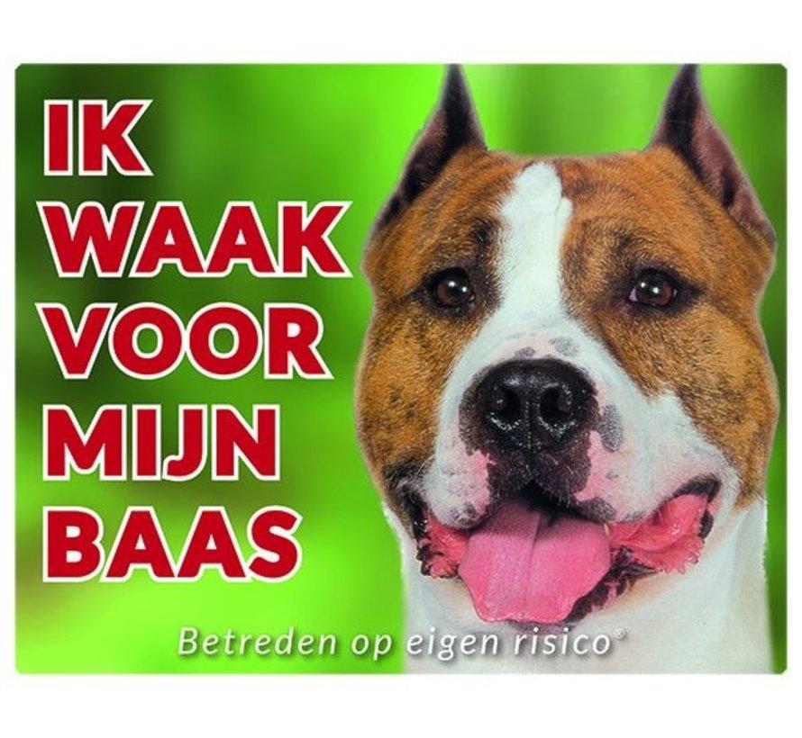 American Staffordshire Terrier Waakbord - Ik Waak