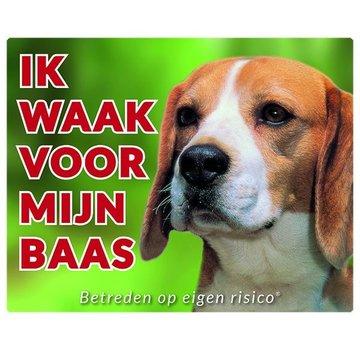 Stickerkoning Beagle Waakbord - Ik waak voor mijn baas