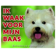 Stickerkoning West Highland White Terrier Waakbord - Ik waak voor