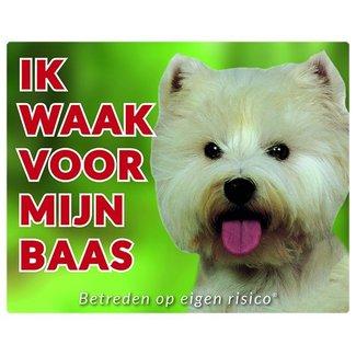 Stickerkoning West Highland White Terrier Waakbord - Ik waak voor