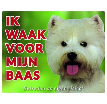 Stickerkoning West Higland White Terrier Waakbord - Ik waak voor